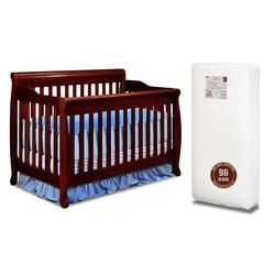 Alice 3-in-1 Crib w/ Toddler Guardrail and 96-Coil Mattress