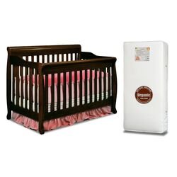 Alice 3-in-1 Crib w/ Toddler Guardrail and Organic 260-Coil Mattress
