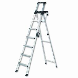 Eight-Foot Lightweight Aluminum Folding Step Ladder with Leg Lock and Handle