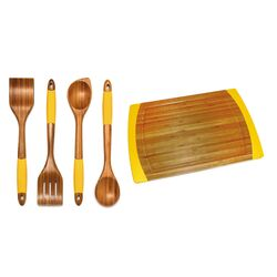 5 Piece Bamboo Cutting Board & Kitchen Tool Set