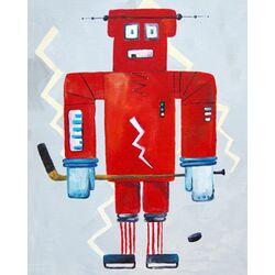 Patchwork Bom Loves Hockey Robot Canvas Art
