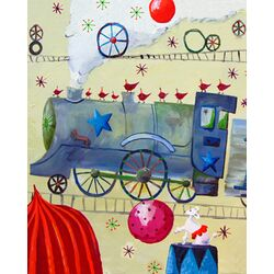 Circus Train Poodle Paper Prints