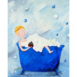 Wit and Whimsy Boy in a Tub Paper Print