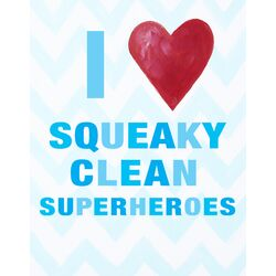I Heart Squeaky Clean Superheroes Paper Print