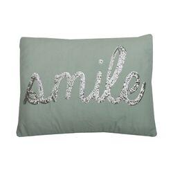 Smile Sequin Script Lumbar Pillow