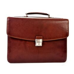 Gaetano Double Gusset Leather Laptop Briefcase