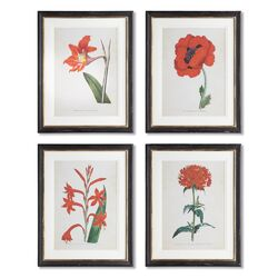 Williamsburg Spring Florals 4 Piece Framed Painting Print Set