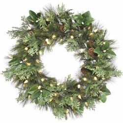Sierra Lodge Grand Pine and Magnolia Wreath with Lights