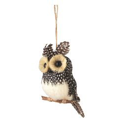 Sierra Lodge Mini Spotted Perched Owl Ornament (Set of 4)