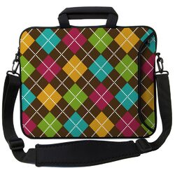 Executive Sleeves Argyle Brown PC Laptop Bag