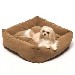 Microfiber Square Pet Bed in Chocolate
