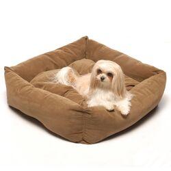 Microfiber Square Pet Bed in Chocolate