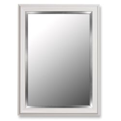 Glossy White Petite / Stainless Liner Framed Wall Mirror