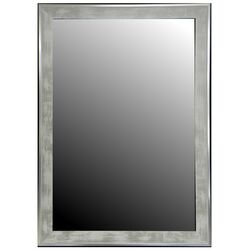 Scratched Wash White & Silver Trim Framed Wall Mirror