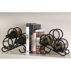 Scroll Rack Bookends 3 Bottle Tabletop Wine Rack (Set of 2)