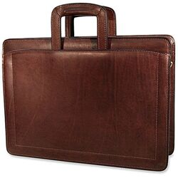 Belting Triple Gusset Leather Briefcase