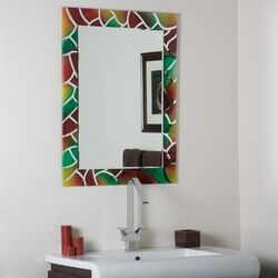Abstract Frameless Wall Mirror