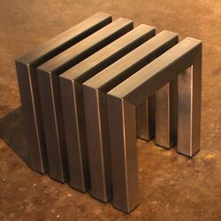 Linear Stainless Steel Cube Table