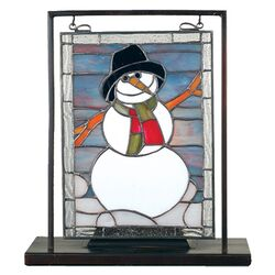 Tiffany Snowman Lighted Mini Tabletop Window Table Lamp