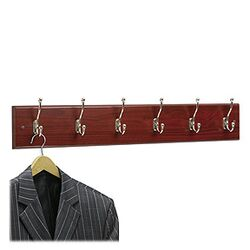 Safco Six Hook Wood Wall Rack