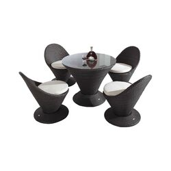 Martini 5 Piece Dining Set with White Cushions