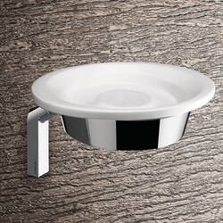 Karma Wall Mounted Soap Dish in Bright White and Chrome