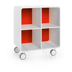 Linea Bej Four Shelf Storage Unit with Wheels