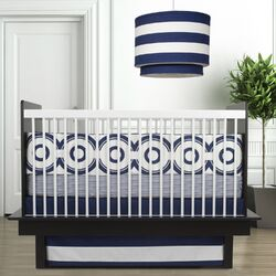 Oilo-Wheels 3 Piece Crib Set in Cobalt Blue