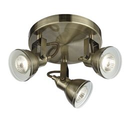 Home Essence Ottawa 3 Light Spotlight in Antique Brass