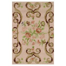 Hooked Siena Light Brown Floral Area Rug