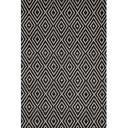 Woven Black & Ivory Diamond Indoor/Outdoor Area Rug
