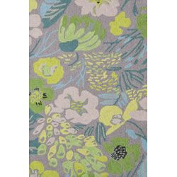 Hooked Hot House Spring Micro Green Floral Area Rug