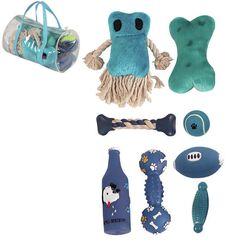 Duffle Pet Plush Rubber & Jute Rope 8 Piece Squeak Toy Set