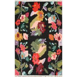 Marion Blossoms Kilim Black Area Rug