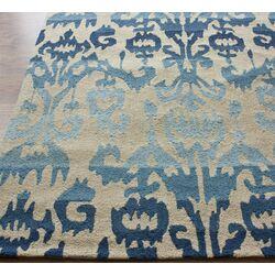 Pop Blue Ikat Area Rug