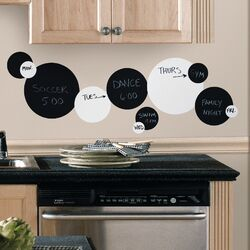 Room Mates 31 Piece Deco Chalkboard and Dry Erase Dots Wall Decal in Black / ...