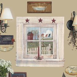 9 Piece Peel & Stick Giant Wall Decals/Wall Stickers Outhouse Window and Signs Wall Decal ...