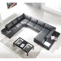Modern Leather Sectional Sofa with Built-in Light