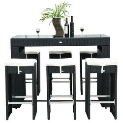 Outsunny 7 Piece Dining Table Set with Cushions