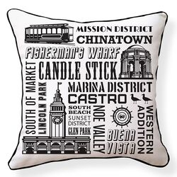 San Francisco Neighborhoods Pillow