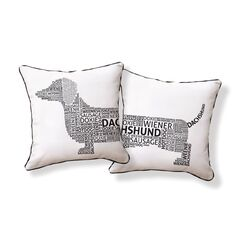 Dachshund Typography Pillow