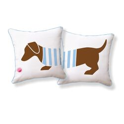 Playful Doxie Double Sided Cotton Pillow