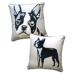 Doggie Style Reversible Boston Terrier Pillow