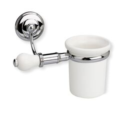 Nemi Wall Mounted Toothbrush Holder with End Cap in Chrome/White