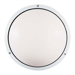 Geoform 120V Two Light Round Ring Outdoor Fluorescent Wall Sconce in White