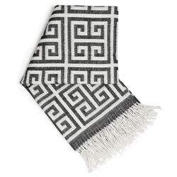 Greek Key Wool Throw