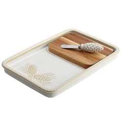 Sierra Pine 3 Piece Stoneware Cheese Board and Knife Set