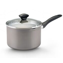 Aluminum Dishwasher Safe 3 Qt. Straining Saucepan with Lid