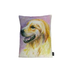 Retriever Watercolor Feather Filled Pillow