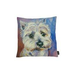 Westie Watercolor Feather Filled Pillow
